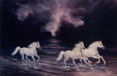 Horses In The Ocean Painting - Poseidon's Gift by Melanie Petridis