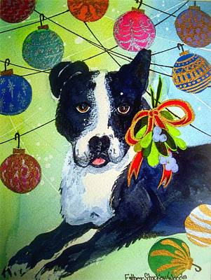Painting - Posey At Christmas 2015 by Esther Woods