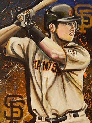 Buster Posey Painting - Posey by Maggie Marquis