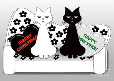 Digital Art - Posh Cats Christmas - Black And White by Beverley Brown