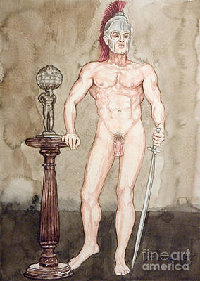 Physique Painting - Posing Nude Spartan by The Artist Dana