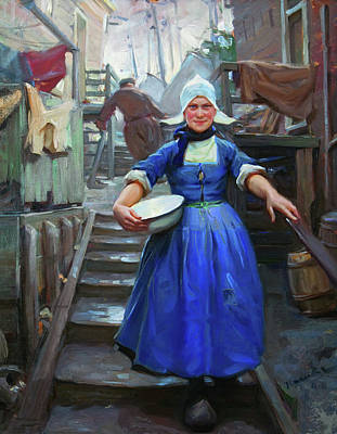 Laundry Painting - Posing On The Steps - Volendam by Mountain Dreams