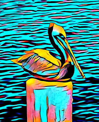 Photograph - Posing Pelican At Stearns Wharf Abstract by Barbara Snyder