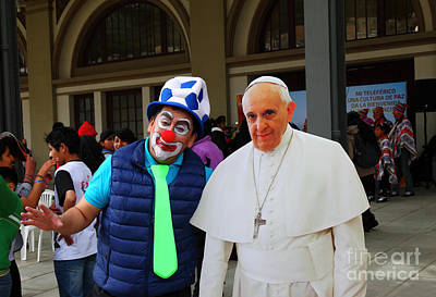 Posing With Pope Francis Art Print by James Brunker