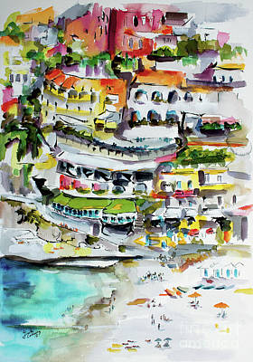 Painting - Positano Beach Amalfi Coast Holiday by Ginette Callaway