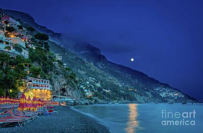 Moon Beams Photograph - Positano Beach At Night by Inge Johnsson