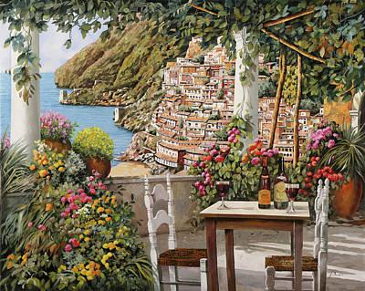 Paintings - Positano dalla terrazza by Guido Borelli
