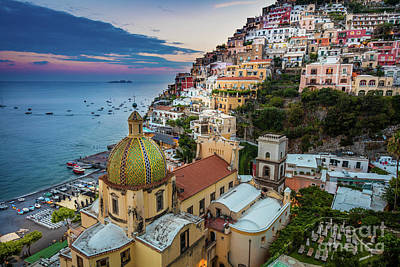 Cupola Photograph - Positano Evening by Inge Johnsson
