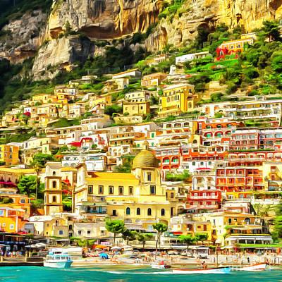 Photograph - Positano Fishing Village Amalfi Coast Campania Italy 20170918 Square by Wingsdomain Art and Photography