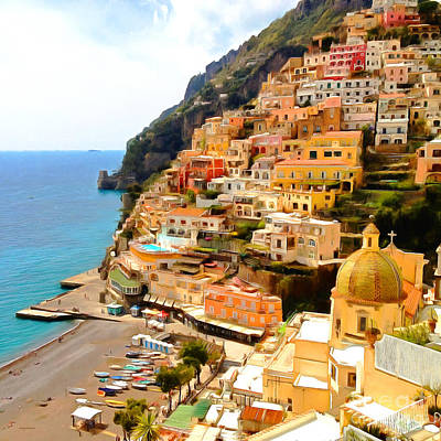 Photograph - Positano Fishing Village Amalfi Coast Campania Italy 20170918 V2 Square by Wingsdomain Art and Photography