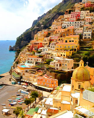 Photograph - Positano Fishing Village Amalfi Coast Campania Italy 20170918 V2 Vertical by Wingsdomain Art and Photography