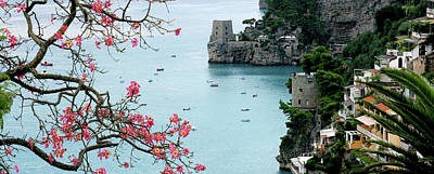 Positano Fortress And Dogwood Art Print