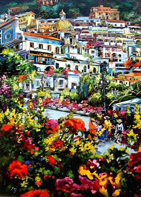 A Summer Evening Landscape Painting - Positano by Gera