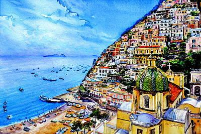 Amalfi Coast Painting - Positano by Hanne Lore Koehler