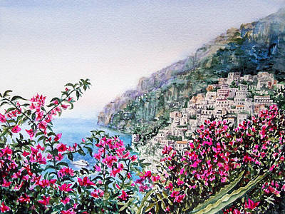 Visitors Painting - Positano Italy by Irina Sztukowski