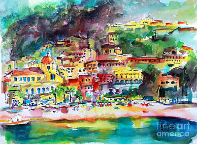 Painting - Amalfi Coast Positano Summer Fun Watercolor Painting by Ginette Callaway