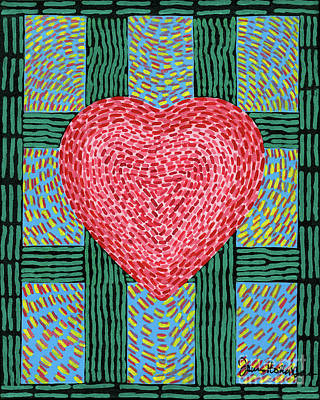Painting - Positive Energy Teal Heart by James Homer Brown