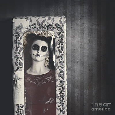 Doll Photograph - Possessed Sugar Skull Doll Inside Vintage Toy Box by Jorgo Photography - Wall Art Gallery