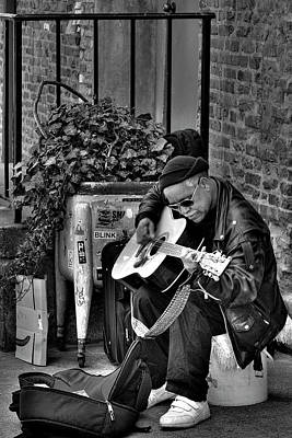 Musicians Royalty Free Images - Post Alley Musician in Black and White Royalty-Free Image by David Patterson
