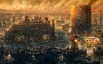 Skyline Digital Art - Post Apocalyptic by Maye Loeser