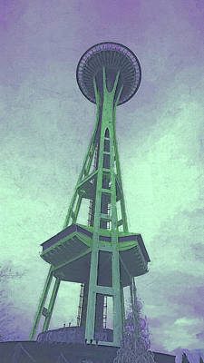 Digital Art - Post Apocalyptic Space Needle by Cathy Anderson