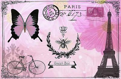 Digital Art - Post Card Paris by Greg Sharpe