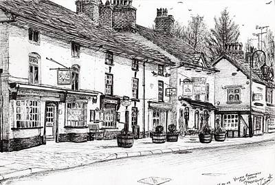 Storefront Drawing - Post Office  Prestbury by Vincent Alexander Booth