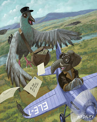 Carrier Painting - Postal Bird by Martin Davey