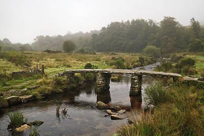 Photograph - Postbridge Clapper Bridge In Dartmoor  by Shirley Mitchell