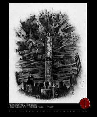 Empire State Building Drawing - Postcard From New York by Nick Kushner
