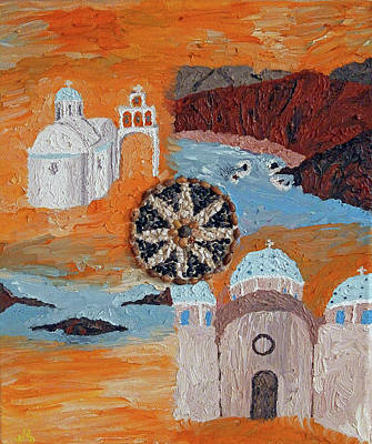 Postcard From Santorini Original
