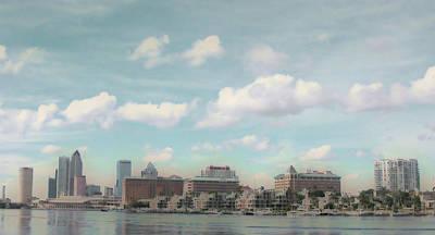 Postcard Look Of Tampa Skyline Art Print by Rebecca Sauceda