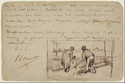 Weeding Painting - Postcard With Two Peasants Digging 1885 by Vincent Van Gogh