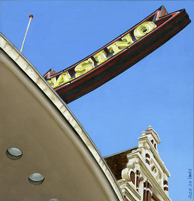 Painting - Postcards From Amsterdam No.33, Former Cineac Damrak, by Rob De Vries