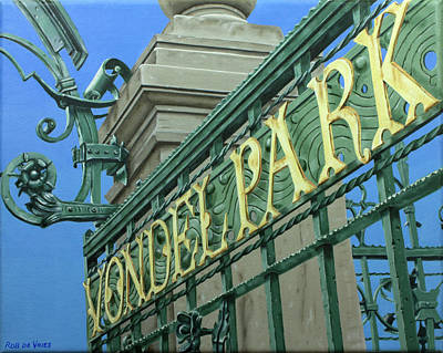 Painting - Postcards From Amsterdam No.40 Toegangshek Vondelpark by Rob De Vries