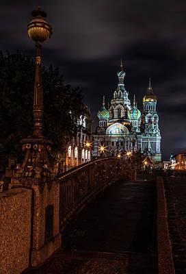 Photograph - Postcards From Sankt Petersburg - Beautiful Church At Night by Jaroslaw Blaminsky