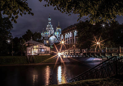 Photograph - Postcards From Sankt Petersburg - Night Walk by Jaroslaw Blaminsky