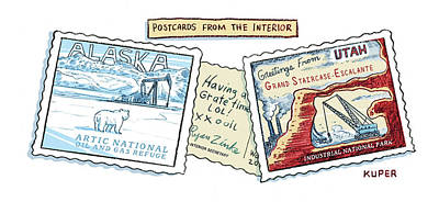 Drawing - Postcards From The Interior by Peter Kuper