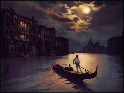 Art Print featuring the painting Postcards From Venice - The Red Gondola by Douglas MooreZart