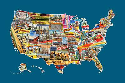 United States Mixed Media - Postcards Of The United States Vintage Usa All 50 States Map by Design Turnpike