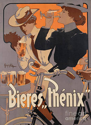 Bicycle Painting - Poster Advertising Phenix Beer by Adolf Hohenstein