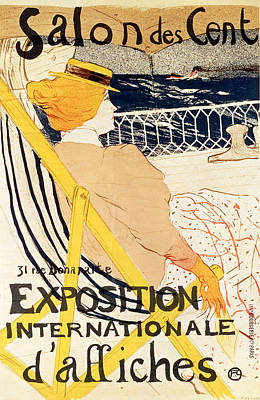 Liner Painting - Poster Advertising The Exposition Internationale Daffiches Paris by Henri de Toulouse-Lautrec