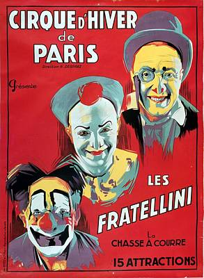 Vintage Circus Painting - Poster Advertising The Fratellini Clowns by French School