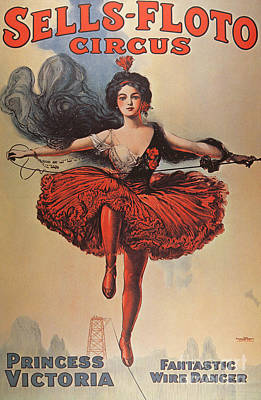 Tightrope Walking Drawing - Poster Advertising The Sells Floto Circus, 1920  by American School