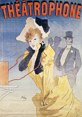Poster Advertising The Theatrophone Art Print by Jules Cheret