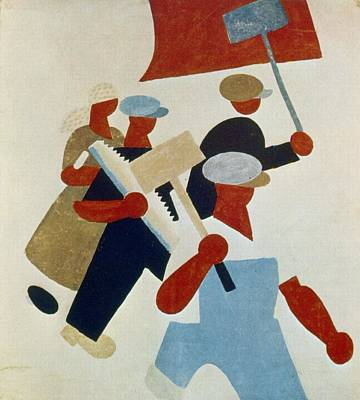 Poster Depicting Marching Protestors During Russian Revolution Art Print
