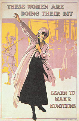Poster Depicting Women Making Munitions  Art Print by English School