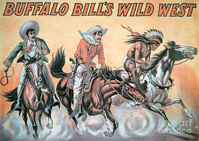 Lassoing Painting - Poster For Buffalo Bill's Wild West Show by American School