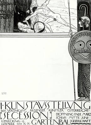 Drawing - Poster For The 1st  Vienna Secession by Gustav Klimt