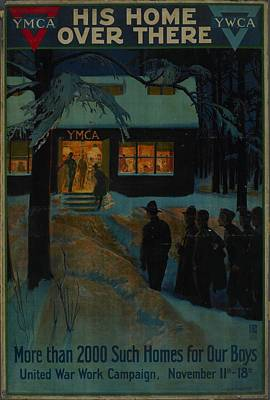 Circle Painting - Poster His Home Over There 1918 United States By Albert Herter Committee On Public Information by Celestial Images